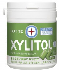 Lotte Xylitol Gum - Lime mint - Family bottle 143g (Pack of 6)